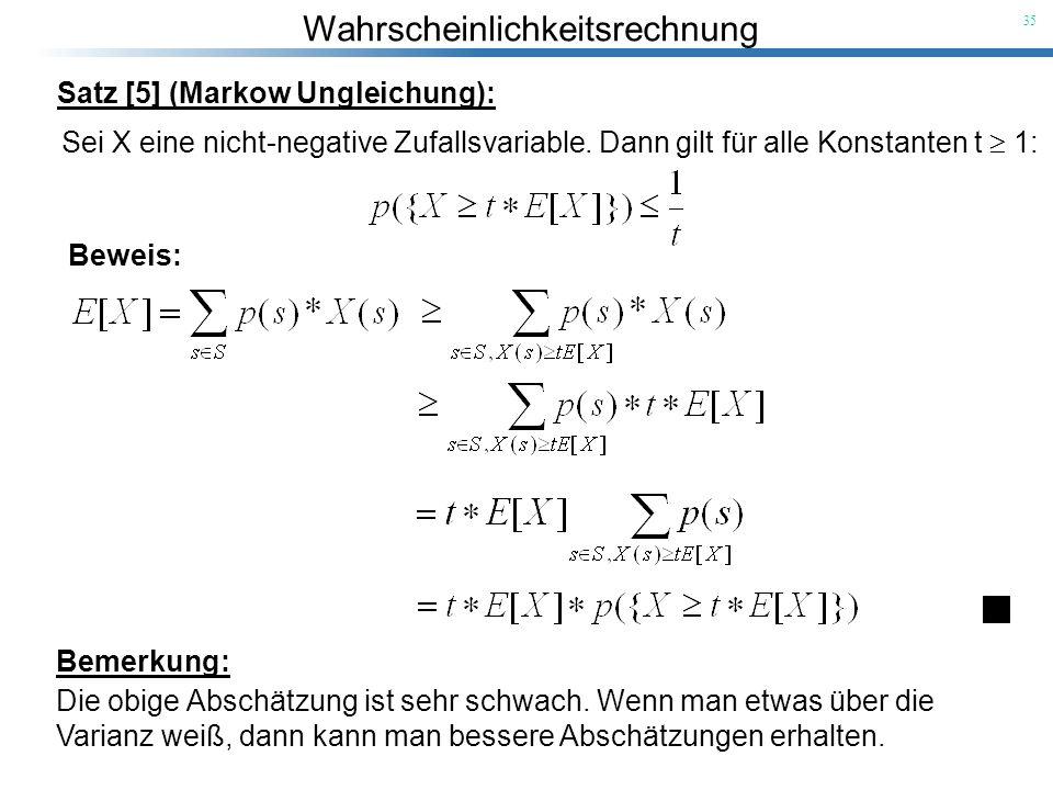 Satz [5] (Markow Ungleichung):